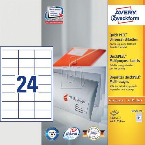 Etykiety uniwersalne Avery Zweckform trwałe 64,6 x 33,8mm 200 ark./op. 3658-200 (4004182249499)