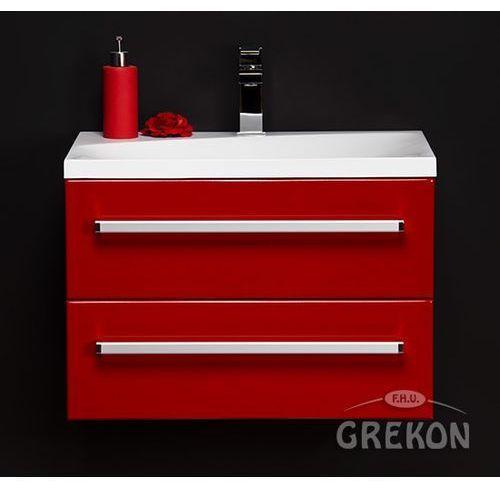 Czerwona szafka wisząca z umywalką 60/39/2M seria Fokus CZ