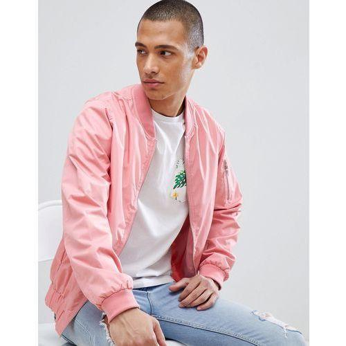 nylon zip through bomber jacket - pink, D-struct