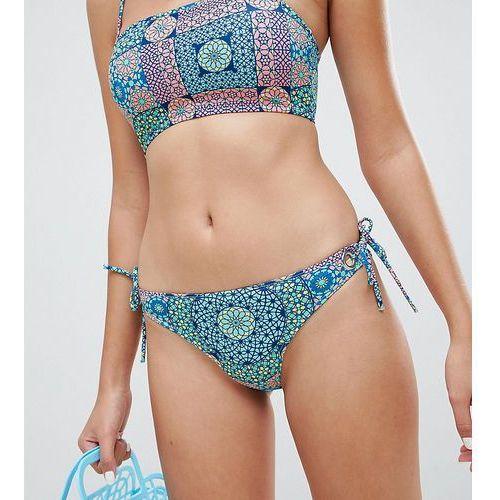 Monki mosaic tie side bikini bottom in Mosaic Print - Multi, w 4 rozmiarach