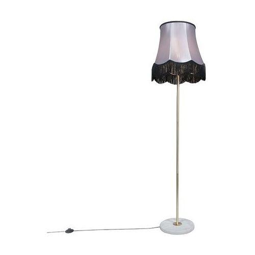Qazqa Lampa podlogowa kaso mosiadz z kloszem granny b 45 cm czarny z szarym