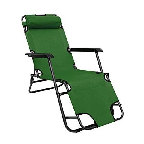 Leżak Rozkładany Plażowy Ogrodowy Zielony Łóżko Polowe, LE05
