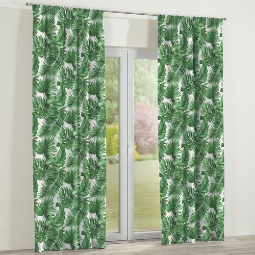zasłona na taśmie marszczącej 1 szt., zielone liście na białym tle, 1szt 130 × 260 cm, urban jungle marki Dekoria