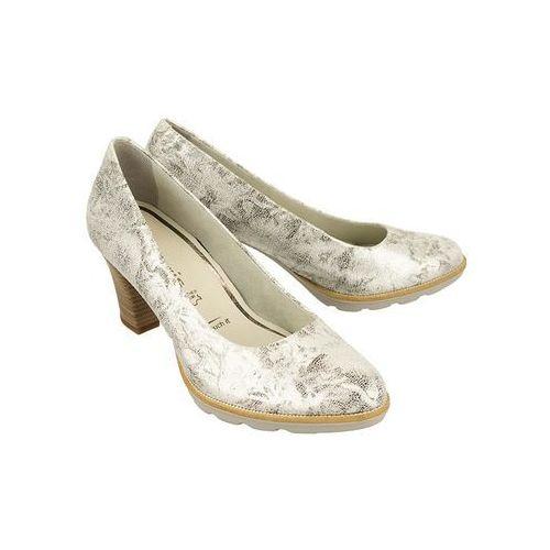 TAMARIS 22402-20 927 silver struct, czółenka damskie - Srebrny, kolor szary