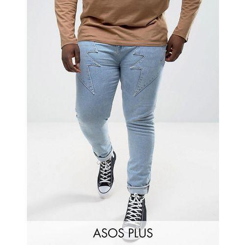 ASOS PLUS Super Skinny Jeans In Light Wash Blue With Lightning Bolt Detail - Blue