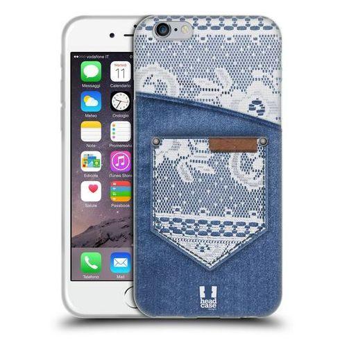 Etui silikonowe na telefon - jeans and laces white lace on denim pocket marki Head case