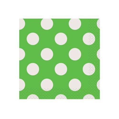 Unique Serwetki urodzinowe zielone w białe kropki - 33 cm - 16 szt.