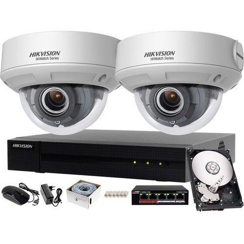 Zestaw do monitoringu podwórka, piwnicy, działki rejestrator ip hwn-4104mh + 2x kamera fullhd hwi-d640h-z + akcesoria marki Hikvision hiwatch