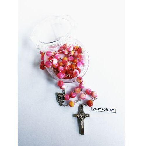 Różaniec z kamieni agat różowy z medalikiem Jana Pawła II i Matki Bożej