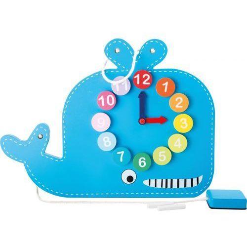 Niebieski Wieloryb 2w1 zegar z tablicą Small Foot