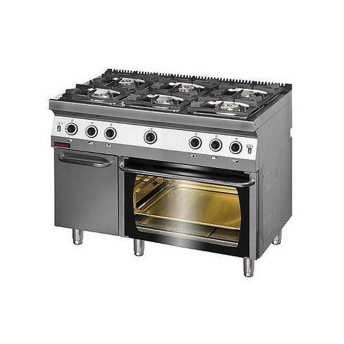 Kuchnia gastronomiczna gazowa 6-palnikowa z piekarnikiem gaz. | KROMET 700.KG-6/PG-2/SD