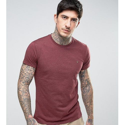 Farah gloor slim fit logo marl t-shirt in burgundy exclusive at asos - red