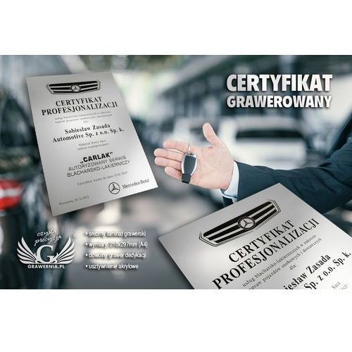Certyfikat metalizowany na podkładzie akrylowym - format A4 - grawerowany laserem