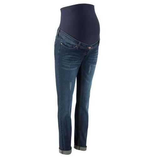 """Dżinsy ciążowe """"Boyfriend"""", z wywijanymi nogawkami bonprix ciemnoniebieski """"stone"""", kolor niebieski"""
