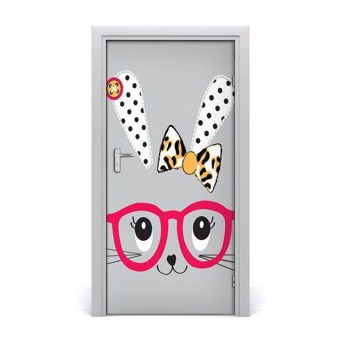 Naklejka samoprzylepna na drzwi Królik w okularach