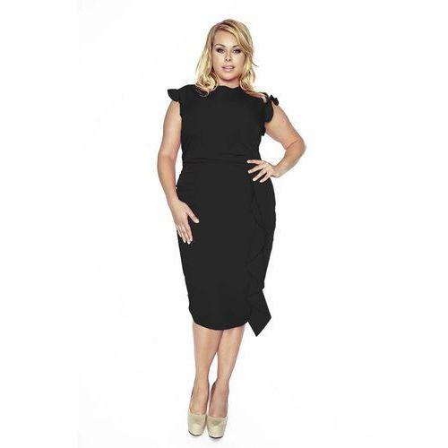 27fa738988 Stylowa czarna sukienka z falbanką plus size marki Kartes moda