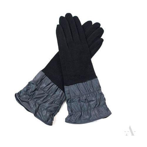 Oryginalne rękawiczki damskie z ortalionową wstawką czarno-stalowe