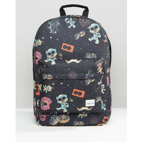 Spiral Backpack with Space Party Print - Black