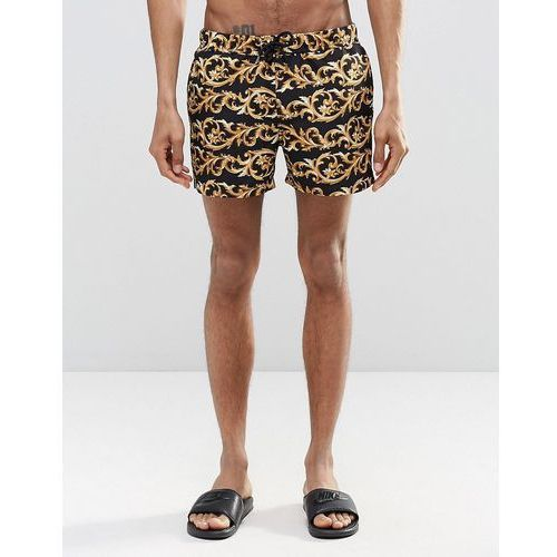 ASOS Swim Shorts With Baroque Print & Gold Detail In Short Length - Black