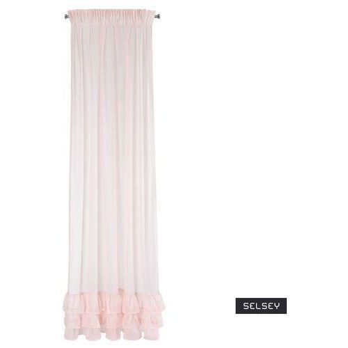 SELSEY Firana Berhane 140x270 cm z falbanami różowa