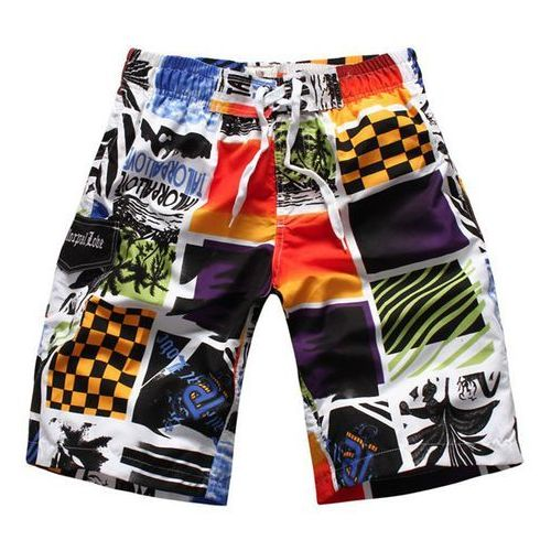 Straight Leg Elastic Waist Color Block Splicing Letters Print Men's Board Shorts