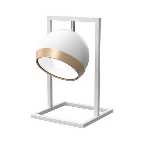 oval white mlp5469 lampka stołowa biurkowa 1x60w e27 biały połysk / brązowy marki Milagro
