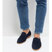 wide fit woven loafers in navy suede - blue, Silver street