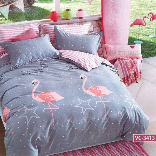Kz Pościel satynowa 160x200 wzór flamingi plus groszki