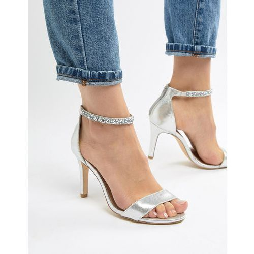 New look wide fit bling ankle strap heeled sandal - silver