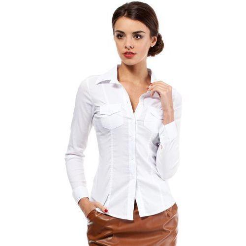 Biała Klasyczna Taliowana Koszula z Długim Rękawem, E020wh