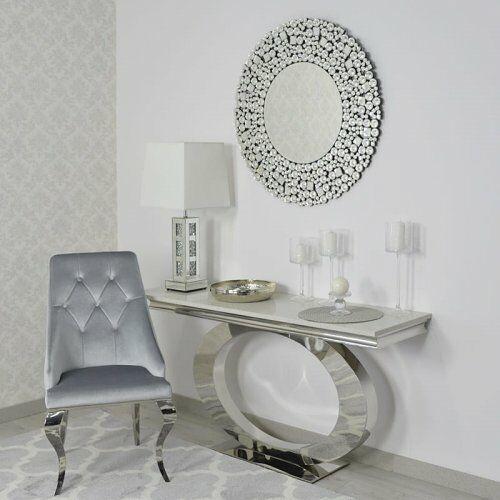 Srebrne lustro glamour okrągłe śr. 90 cm M-0500 (5908273396224)