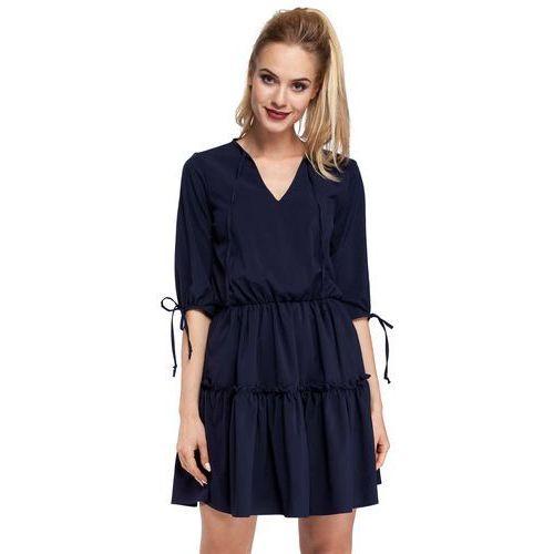 Granatowa Sukienka w Stylu Boho, kolor niebieski