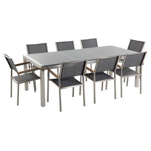 Beliani Meble ogrodowe - stół granitowy 220 cm szary polerowany z 8 szarymi krzesłami - grosseto (4260580937202)