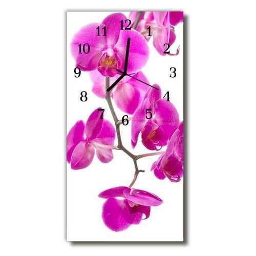 Zegar szklany pionowy kwiaty storczyki różowy marki Tulup.pl