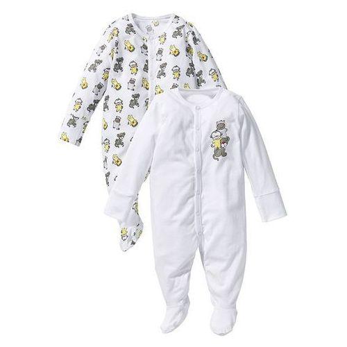 Pajacyk niemowlęcy (2 szt.), bawełna organiczna bonprix biały + szary, kup u jednego z partnerów