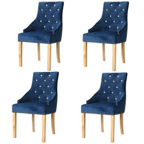 Krzesła do jadalni, 4 szt., drewno dębowe, niebieski aksamit, kolor niebieski
