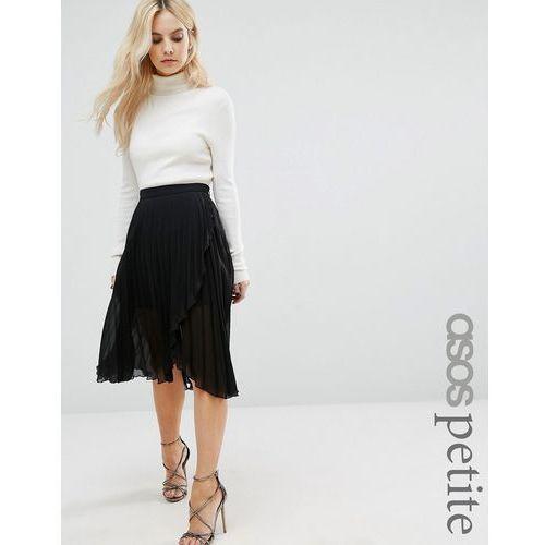 ASOS PETITE Pleated Midi Skirt with Wrap Front Detail - Black - produkt z kategorii- Pozostałe