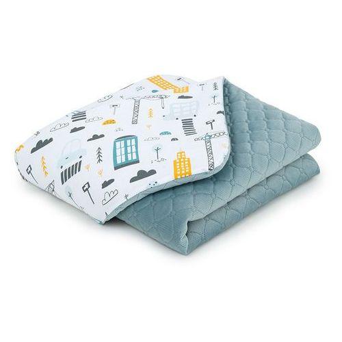 Mamo-tato kocyk dla dzieci i niemowląt 75x100 lux velvet pikowany dwustronny - miasto / khaki