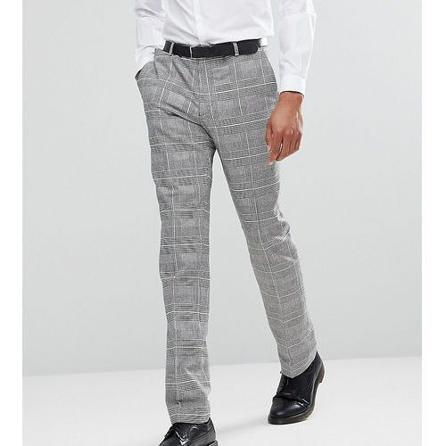 Heart & dagger tall skinny suit trousers in prince of wales check - grey