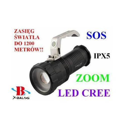 Profesjonalna akumulatorowa latarka szperacz (zasięg do 1200m.!!) led cree + zoom + sos... marki X-balog