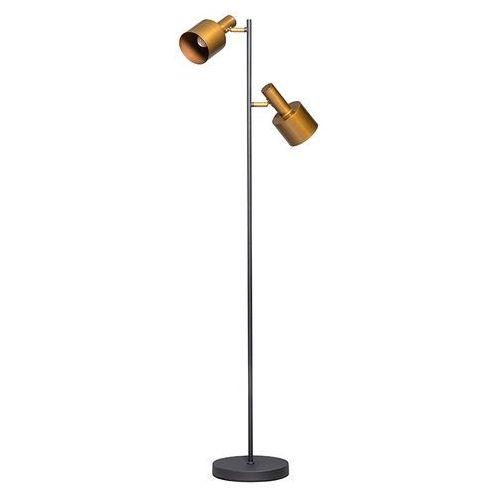 Nowoczesna lampa podłogowa czarna z 2 złotymi reflektorami - Conter