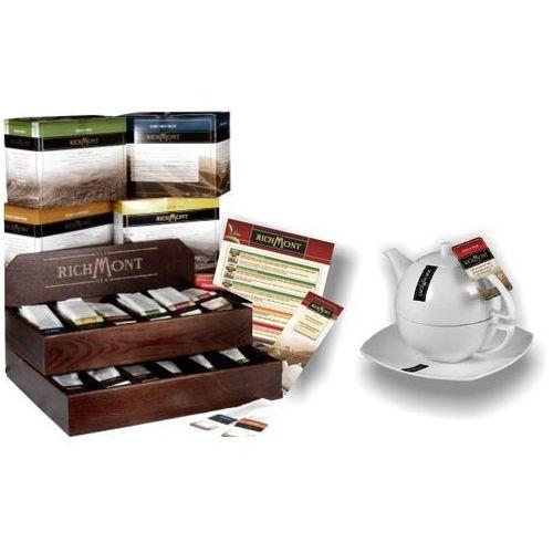 Zestaw : herbata, zestaw do parzenia herbaty, karty menu, drewniany prezenter | richmont, dp marki Richmont