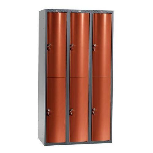 Aj Szafa szatniowa curve 3 sekcje 6 drzwi 1740x900x550 mm czerwony metalik