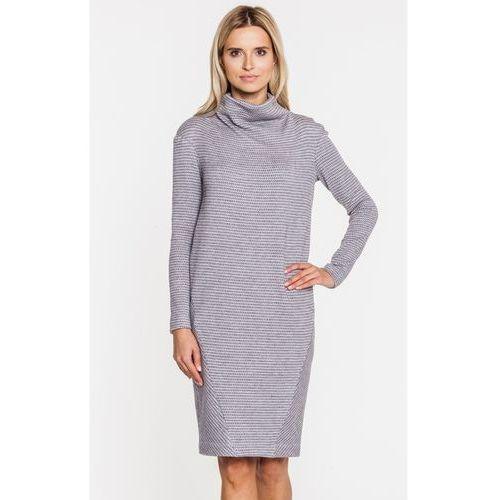 Szara sukienka z golfikiem - SU, 1 rozmiar