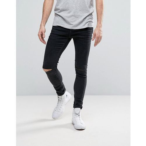 Selected Homme PLUS Jeans in Skinny Fit Grey Denim With Rip Knee Detail - Grey