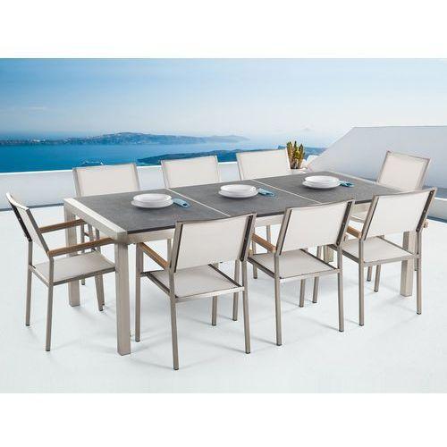 Beliani Meble ogrodowe - stół granitowy 220 cm czarny palony z 8 białymi krzesłami - grosseto (4260580937257)