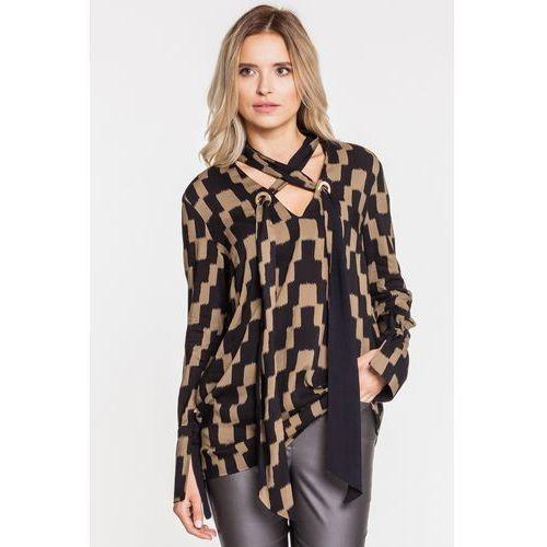 Koszulowa bluzka w khaki-czarne wzory - marki Anataka