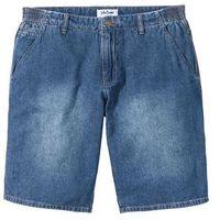 Bermudy dżinsowe loose fit z elastycznymi wstawkami po bokach w talii niebieski marki Bonprix