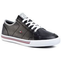 Sneakersy TOMMY HILFIGER - Core Corporate Leather Sneaker FM0FM02677 Black BDS, kolor czarny