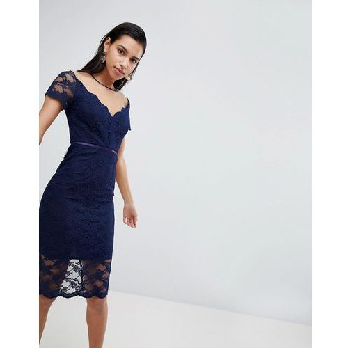 all over lace pencil midi dress - navy, Asos